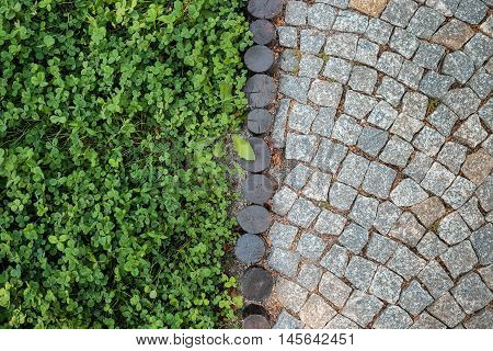 Short grass lawn and cobblestone pavement texture devided by wood