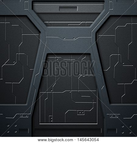 scifi wall. carbon fiber wall and circuits. metal background and texture 3d illustration. technology concept.