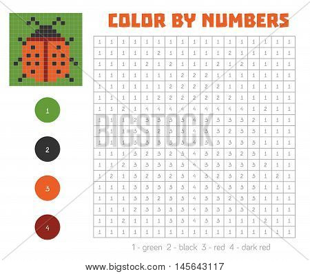 Color By Number With Numbered Squares, Ladybug