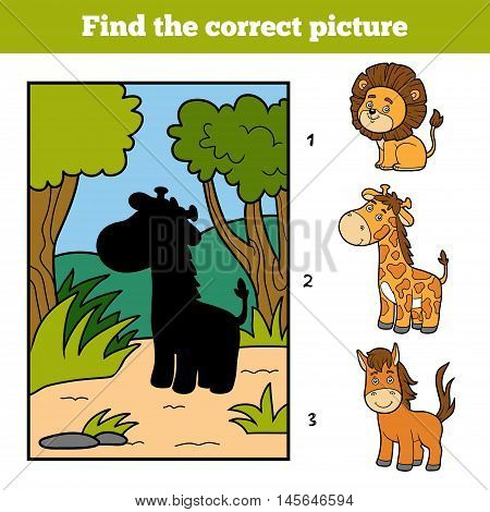 Find The Correct Picture. Little Giraffe And Background