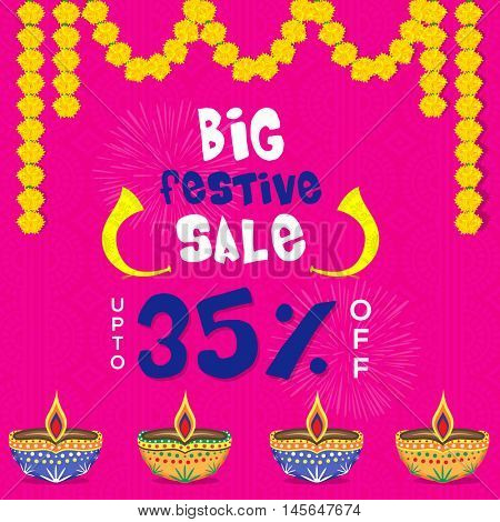 Big Festival Sale poster, flyer or banner upto 35% off offer on occasion of Diwali, the festival of lights with floral decoration and creative illuminated oil lit lamps.