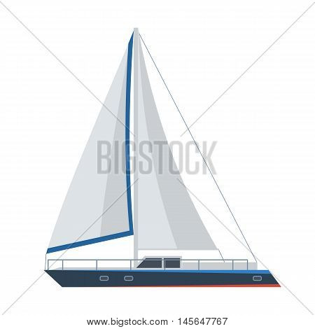 Sail ship vector illustration. Marine yacht icon isolated on white background. Modern sailboat image.
