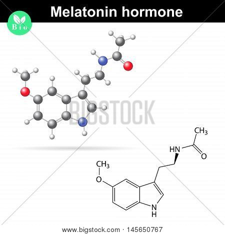 Melatonin hormone molecule regulator of daily rhythms 2d and 3d illustration vector isolated on white background eps 8