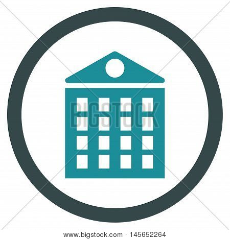Multi-Storey House vector bicolor rounded icon. Image style is a flat icon symbol inside a circle, soft blue colors, white background.