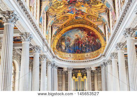 Versailles, France - July 02, 2016:  Famous Royal Chapel Inside Versailles Palace. Versailles Was A