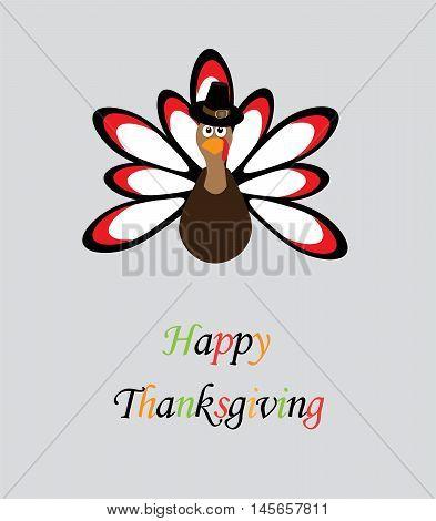 vector illustration of a thanksgiving turkey card
