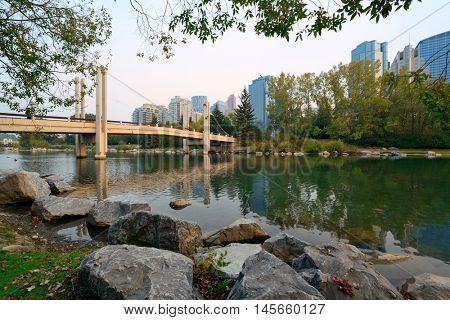 Calgary cityscape from Prince's Island in Alberta, Canada.