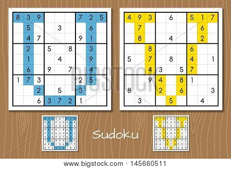 Sudoku vector set with answers. U, V letters