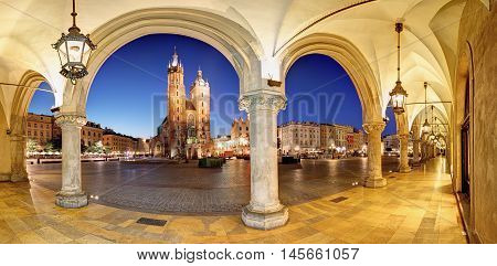 Cracow Krakow Market Square at night cathedral Poland