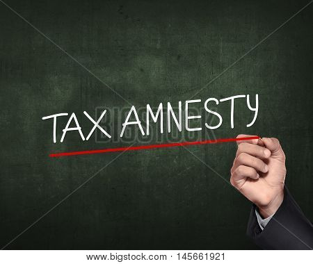 Hand Holding Pen And Write Tax Amnesty Words