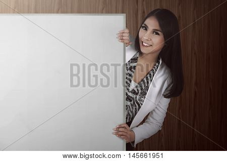 Asian Bussiness Woman Holding White Board