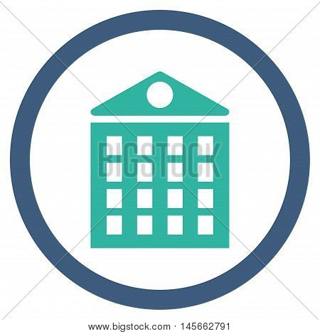 Multi-Storey House vector bicolor rounded icon. Image style is a flat icon symbol inside a circle, cobalt and cyan colors, white background.