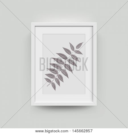 Picture frame with botanical illustration of rowan autumn leaf engraving. Vector realistic paper plastic white framing mat with wide borders shadow. Isolated picture frame A4 vertical mockup template