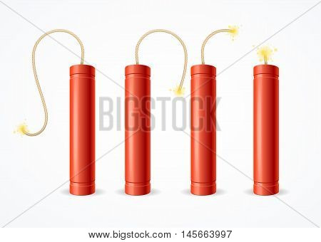 Detonate Dynamite Bomb Set on a Light Background. Vector illustration