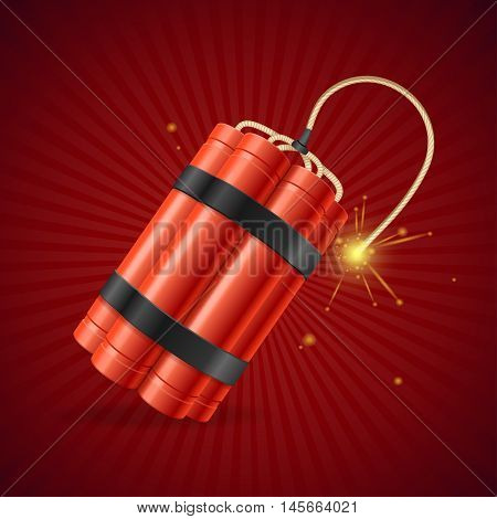 Detonate Dynamite Bomb on a Red Background. Vector illustration