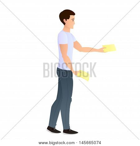 A young man distributes leaflets. Isolated from the background. Leafleting. Advertising campaign. Promoter. Vector illustration