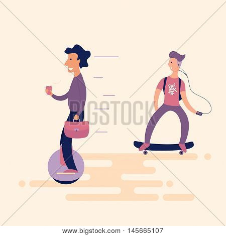 A solid man with coffee on the unicycle overtaken surprised teenager on a skateboard. New technologies in everyday life. Flat. Vector illustration