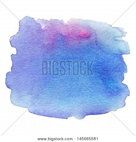 Wet Watercolor Wash. Abstract Water-color Background. Ombre Watercolour Teal Blue Backdrop stain drop