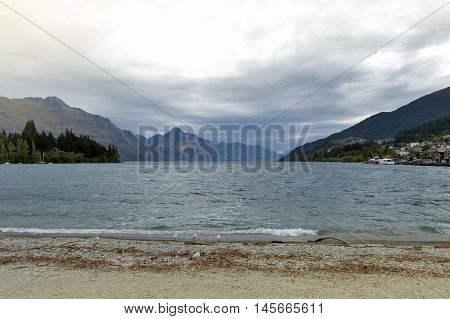Queenstown lakefront by Lake Wakatipu New Zealand
