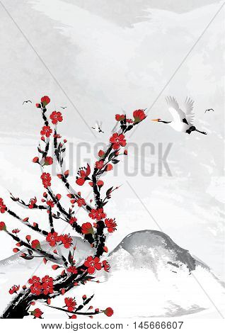 Mountain background with cherry flowers and crane birds. Japanese style. Great for greeting cards, posters or texture design.