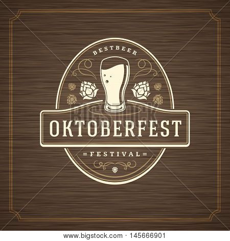 Oktoberfest Greeting card or Flyer on textured background. Beer festival celebration. Oktoberfest Badge or Logo Retro Vector illustration.