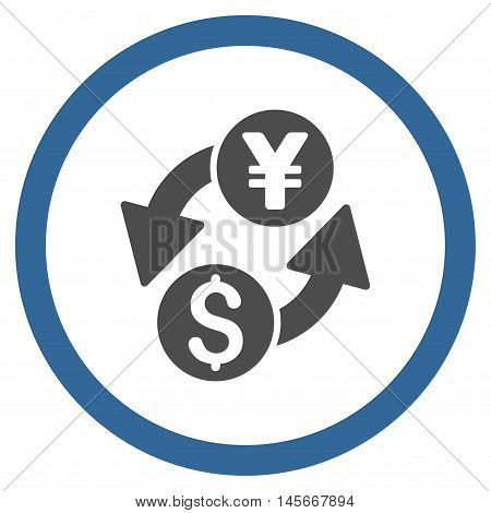 Dollar Yen Exchange vector bicolor rounded icon. Image style is a flat icon symbol inside a circle, cobalt and gray colors, white background.
