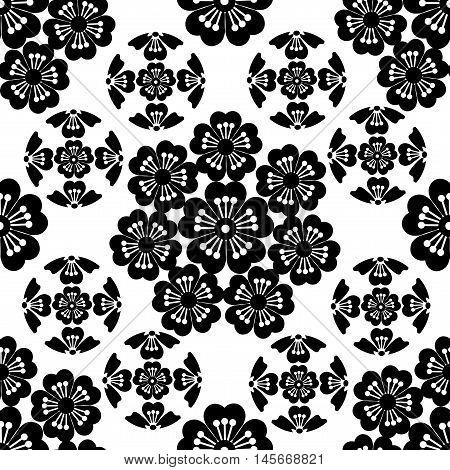 The stylized black seamless Sakura flower , Japanese symbolism vector illustration.