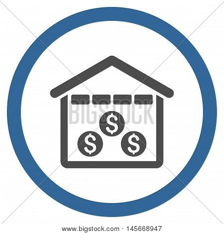 Money Depository vector bicolor rounded icon. Image style is a flat icon symbol inside a circle, cobalt and gray colors, white background.