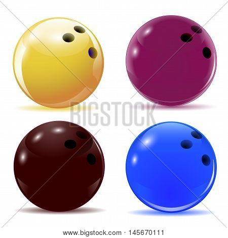 Multi-colored bowling balls. Isolated objects with shadows on the theme of sport. Vector illustration