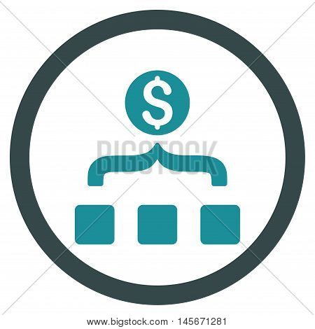 Money Aggregator vector bicolor rounded icon. Image style is a flat icon symbol inside a circle, soft blue colors, white background.