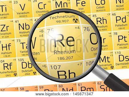 Element Of Rhenium With Magnifying Glass