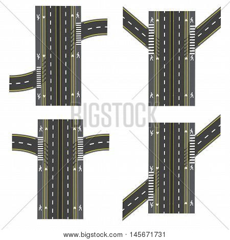 Set of different road sections, interchanges transpot, bike paths, sidewalks and intersections. Vector illustration