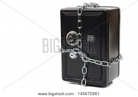 Saving your money steel safe in chains over white background money insurance concept