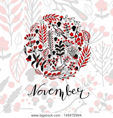 Autumnal round frame. Wreath of autumn leaves. Background with hand drawn autumn leaves. Fall of the leaves. Sketch, design elements. Vector illustration with mushroom acorn and handwritten word