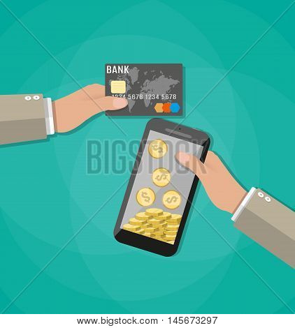 Hand holding mobile phone with gold coins inside and bank card. Mobile payment, mobile banking, money transfer. vector illustration in flat style