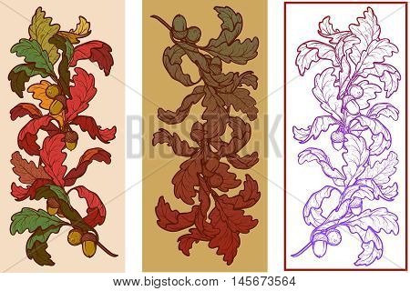 Fall Festival vignette set. Greeting card, flyer or poster design element. Autumn oak leaves in different styles. Elaborate hand drawing. Vintage design. EPS10 vector illustration.