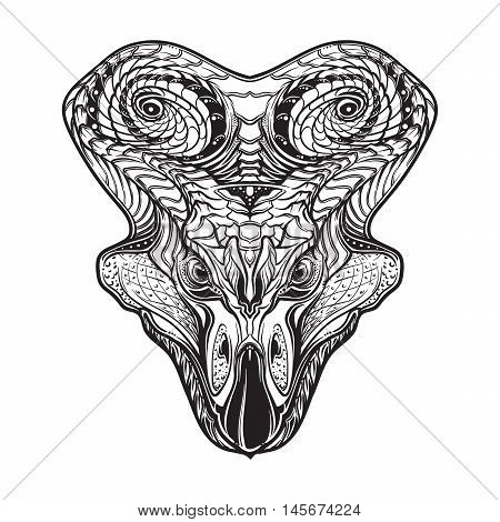 Hand Drawn detailed sketch of the Protoceratops head. Intricate decorative scale ornament on the neck collar. Tattoo design. Isolated on white background. EPS10 vector illustration.
