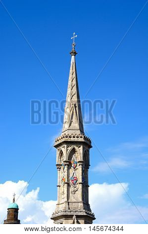View of the top of the Banbury Cross in the town centre Banbury Oxfordshire England UK Western Europe.