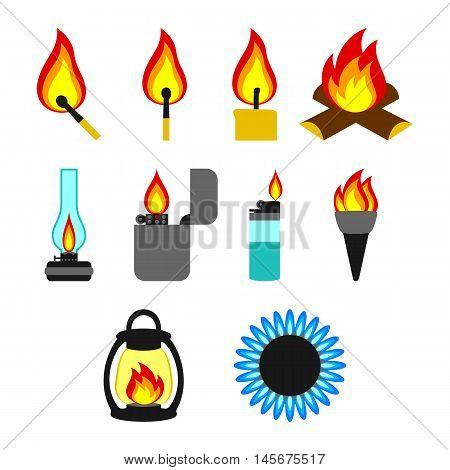 Objects giving fire. Set on a white background.