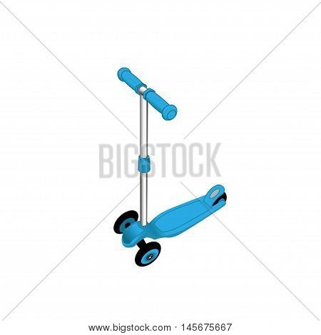 Black push scooter on white. Clipping path included.