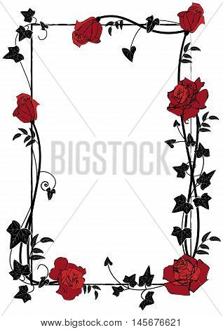 vector frame with roses ivy and butterflies in black red and white colors