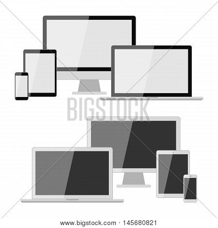 Different types of devices set. Isolated smartphone, tablet, laptop and computer. Mockup gadgets. Adaptive design. White and black screen.