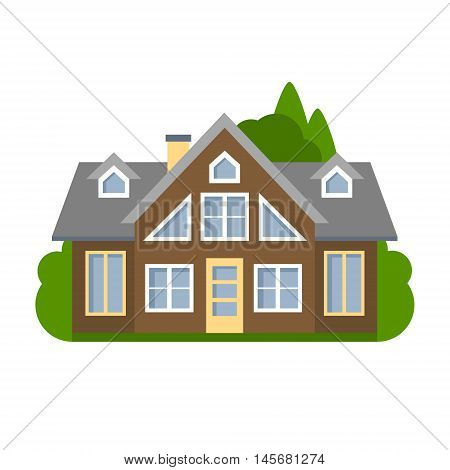 Isolated brown house. Simple suburban house. Concept of real estate, property and ownership.
