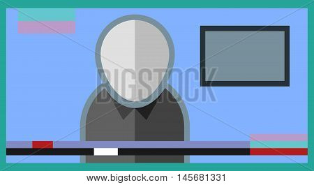 Flat image of the journalist on television news channel