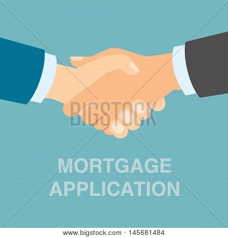 Mortgage application handshake. Application approved. Successful contract for property.