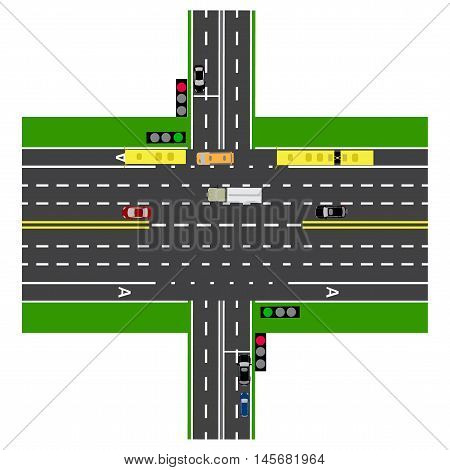 Road infographics. Large highway intersection with the road. With the cars and traffic lights. loaded maps of roads and public transport. Top view of the highway. Vector illustration