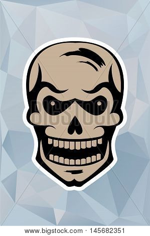 graphic skull on a blue triangulator background