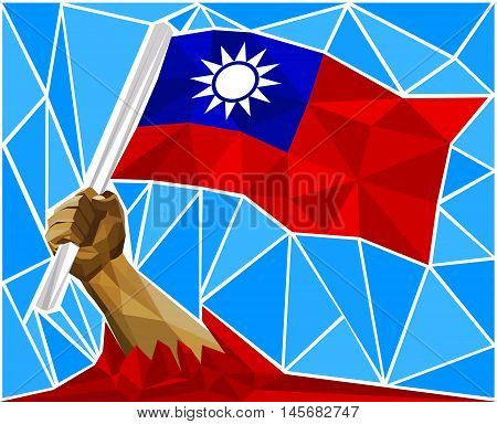 Patriotic Powerful Man Arm Raising The National Flag Of Taiwan
