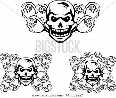 Abstract graphic black set of skulls and roses