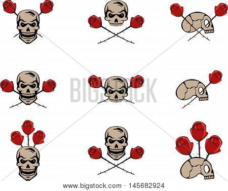 Abstract graphic set of skulls and red roses